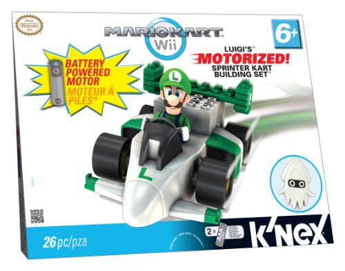K'NEX Mario Kart Wii Building Set: Luigi's Motorized Sprinter Kart (Wii Games Boys Age 8)
