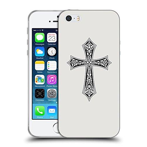 GoGoMobile Coque de Protection TPU Silicone Case pour // Q09190631 Croix chrétienne 29 Platine // Apple iPhone 5 5S 5G SE