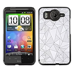 A-type Arte & diseño plástico duro Fundas Cover Cubre Hard Case Cover para HTC G10 (Pattern Black Lines Poly Art Grey Abstract)