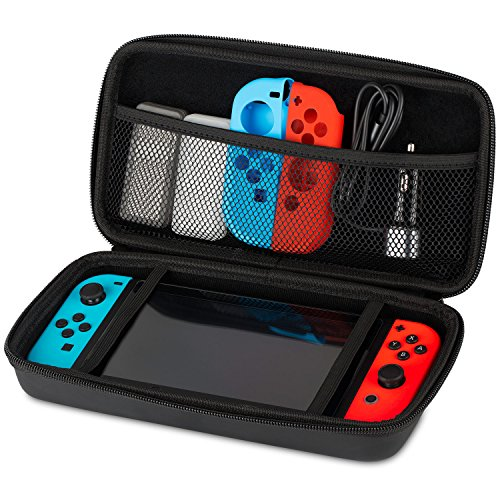 Nintendo Switch Carrying Case, Fosmon Travel Game Protector Pouch [Large Pocket Storage | Shock Proof Hard-Shell Cover] Portable Case for Nintendo Switch Console & Accessories - Black - Fosmon Carrying Case
