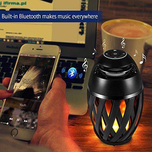 Casse Bluetooth, Luce LED, EECOO Luce LED a Fiamma Altoparlante Portatile Bluetooth V4.2 Wireless Altoparlante Stereo, 96 Piccoli led (Effetto fiamma imitazione), IP65, Ideale per Piscina, Giardino, C
