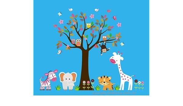 5c56329e05ce Amazon.com  Safari Animal Wall Decals - Jungle Animal Stickers - Wall  Decals Nursery - Removable Wall Decals - Large Animal Stickers - Girls Room  Stickers ...