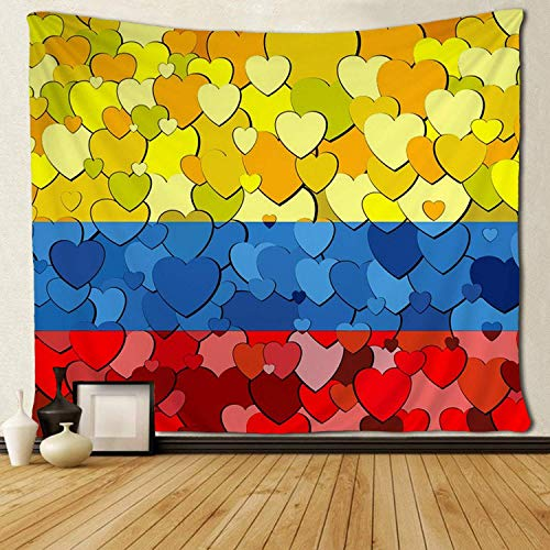 YGRTSYTR Tapestry Wall Art Colombian Flag Made of Hearts Tapestries Hippie Art Wall Hanging Adults Kids' Room Decoration Wall Blanket -