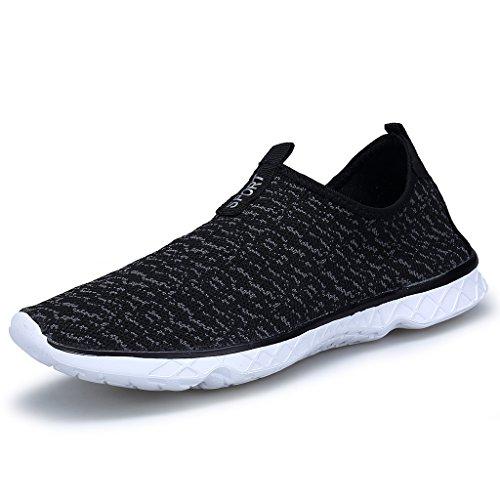 puuyfun Womens Slip On Aqua Water Shoes Lightweight Breathable Walking Shoes Black LJDTJlHO26