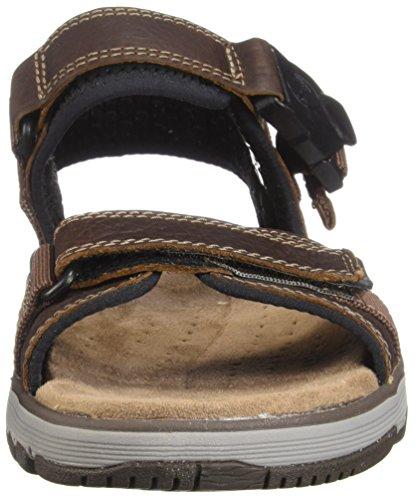 Clarks Ostrukturerade Av Mens Untrek Del Avslappnade Sandal Mörk Solbränna Läder