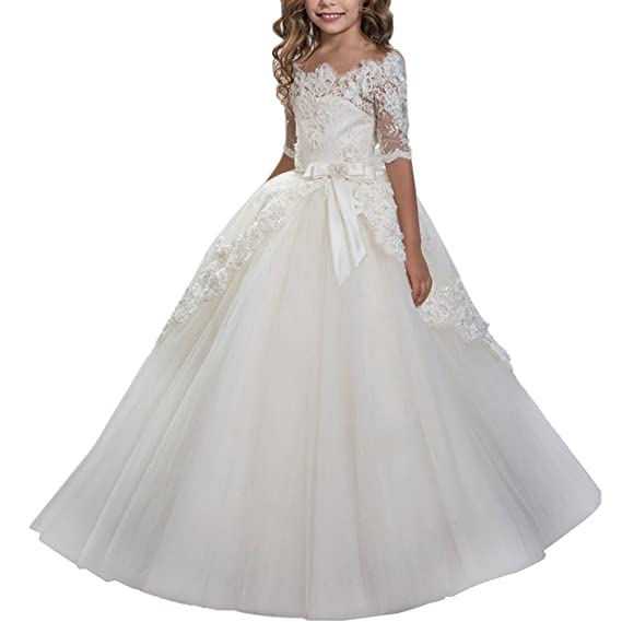 IBTOM CASTLE Vestido de niña de flores para la boda Niños Largo Gala Encaje De Ceremonia Fiesta Elegantes Comunión Paseo Baile Pageant Damas De Honor Coctel ...