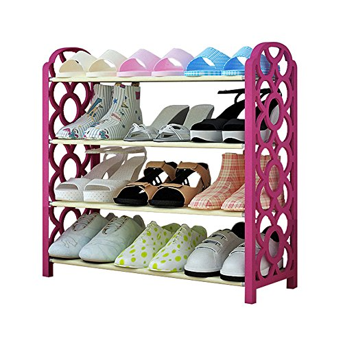 FKUO 4-Tier Shoe Rack Organizer Storage Bench - Holds 12 Pairs - Organize Your Closet Cabinet or Entryway - Easy to Assemble - No Tools Required (rose) (Make Your Own Storage Bench)