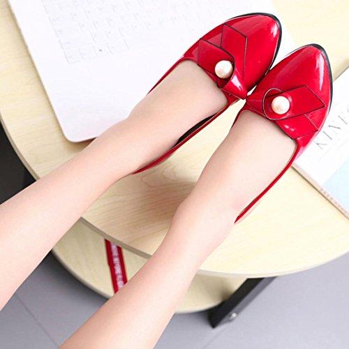 High Heel Schuhe Hunpta Herbst Casual Frauen Büro Shallow Mund Runde Toe Pearl Dick High Heel Schuhe Rot
