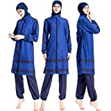 Women Muslim Swimwear Islamic Modest Swimsuit Muslim Sun Protection Burkini (XL, Blue)