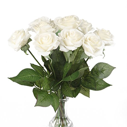 Silk Rose 17 Artificial Flowers As Natural -Louis Garden (3, White)