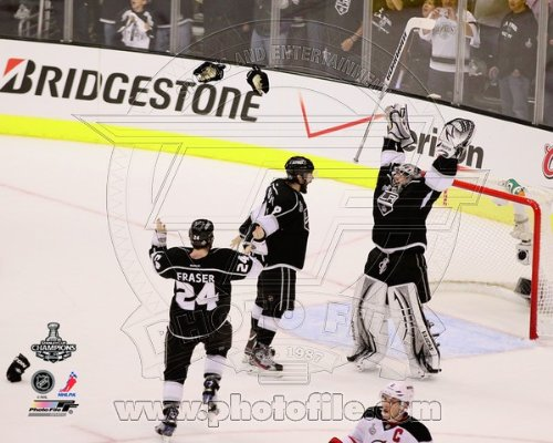 Drew Doughty, Jonathan Quick , & Colin Fraser Celebrate Winning Game 6 of the 2012 Stanley Cup Finals - 8x10 Photo (LA Kings)