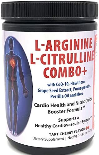 L-Arginine 5000mg L-Citrulline 1000mg Combo Powder 16 Oz. – Tart Cherry Cardio Heart Health Supplement, Nitric Oxide Booster, Pre Workout, Pack of 1