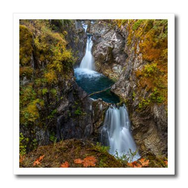 3dRose Danita Delimont - Waterfalls - Autumn in Little Qualicum Falls Provincial Park, B.C., Canada - 8x8 Iron on Heat Transfer for White Material (ht_277204_1) (8 Provincial Light)