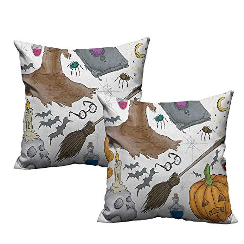 warmfamily Personalized Pillowcase Halloween Magic Spells Witch Craft Objects Doodle Style Illustration Grunge Design Skull with Hidden Zipper W16 xL16 2 -