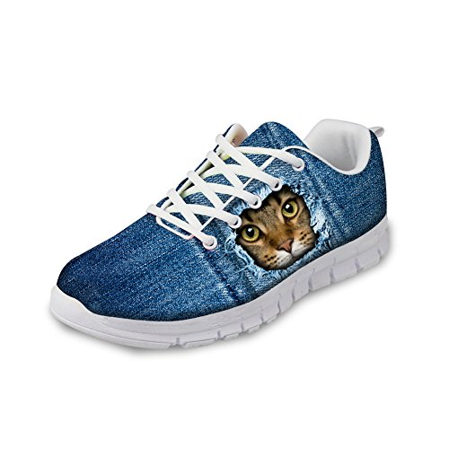 Men Shoes Pattern cat 3D Blue Animals Mesh Women CHAQLIN Sneakers Denim Flat 2 Running qF8UxtY
