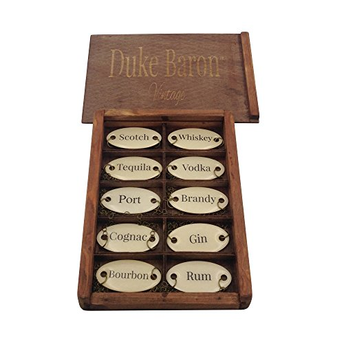 Duke Baron Ultimate Vintage Decanter Set of 10 Liquor Tags Bourbon, Brandy, Cognac, Gin, Port, Rum, Scotch, Tequila, Vodka and Whiskey in Wood Gift Box, Antique White/Brass
