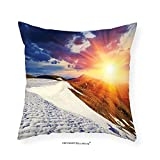 VROSELV Custom Cotton Linen Pillowcase Dorm Room Boho Decor Sunshine Clouds Nature Mountain and Valley Sun for Living Room Girls Decor Divider in College Dorm Accessories Landscape Home Whit 12''x12''