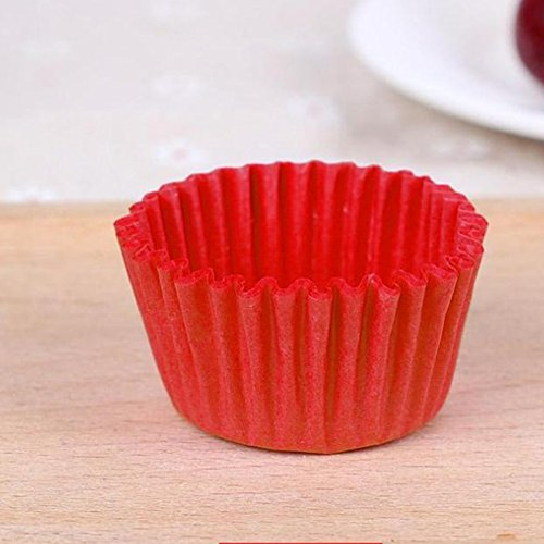 EDTara Paper tray, Disposable Paper Baking Cups Cupcake Wrapper for Muffin Mousse Kitchen Bakeware ,500PCS/1000PCS,medium red ()