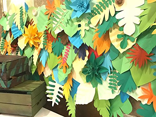 safari backdrop / leaves backdrop / paper leaves backdrop / Tropical leaves backdrop / Jungle party backdrop /Kids party/Dessert table by Candy Tree Baltimore
