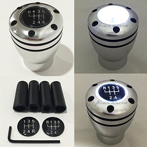 Manual Transmission Speed 5 6 WHITE LED Light Silver Sport Gear Stick Shift Knob JDM Style Auto US Shifter Console Lever by Mega Racer