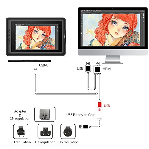 XP-Pen IPS Graphics Drawing HDMI Cable and Glove