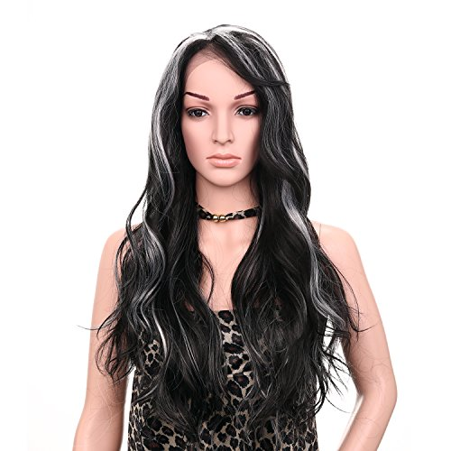 Favor Fashion Cosplay Wigs Halloween Long Big Wavy Heat Resistant Full Head Lace Front Two Color 2Tones Hand Tied Costume (Black Long Wig With Two Braids)