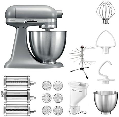 KitchenAid Robot de cocina mini, 5 ksm3311 X E, pasta del paquete incluye Top accesorios: Pasta Snoot con 3 rodillos, pasta Prensa (Corto) con 6 boquillas, nudeltrockner y accesorios estándar Matte Grey: Amazon.es: Hogar