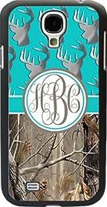 Aqua Buck Head #3 Country Girl Camo Monogram Case Cover For Samsung Galaxy S4 Designed by HnW Accessories