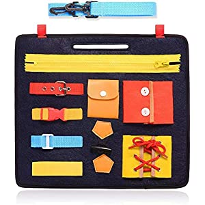 Toddlers' Busy Board, Montessori Basic Skills Activity Board for Fine Motor Skills and Learn to Dress, Educational…