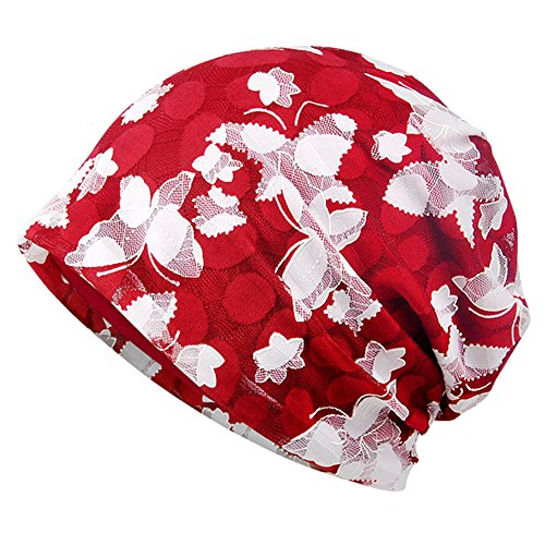 - Lace Beanie Hat Chemo Cap Turban Headwear Baggy Slouchy Hats for Women Burgundy