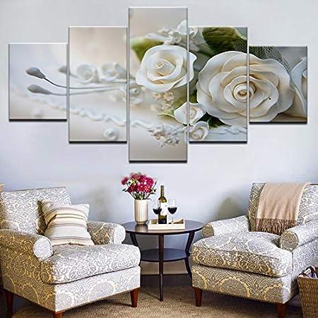 ruciruci Bilder 5 Teilig Leinwand Hd Bilder Wandkunst Poster Wei/ße Rosen Blumen Gem/älde F/ür Wohnzimmer Wohnkultur Rahmenlos Weihnachten