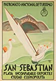 San Sebastian, Spain - Vintage Travel Poster (24x36 SIGNED Print Master Giclee Print w/ Certificate of Authenticity - Wall Decor Travel Poster)