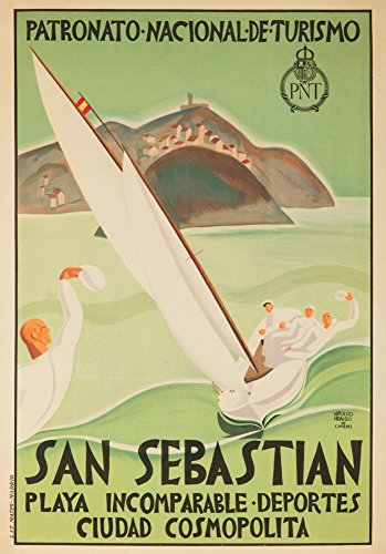 San Sebastian, Spain - Vintage Travel Poster (24x36 SIGNED Print Master Giclee Print w/ Certificate of Authenticity - Wall Decor Travel Poster) by Lantern Press