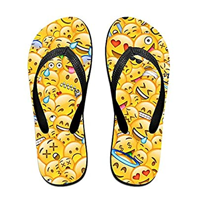 Stylish Lightweight Women's Men's Personalized Beach Flip Flops Small Yellow Face Beach Slippers