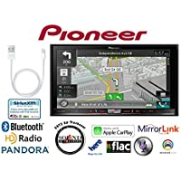 Pioneer AVIC-7100NEX In Dash Double Din 7 DVD CD Navigation Receiver and a Lightening to USB Adapter with a FREE SOTS Air Freshener