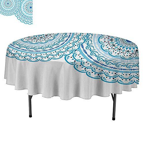 SATVSHOP Premium tablecloth-45Inch-Daily use.Mandala Wedding Invitation Card Theme Lace Mandala and Place for Text Sky Blue Light Blue.