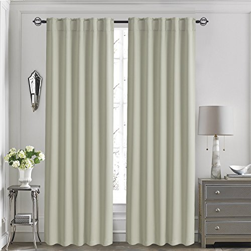 Aquazolax Basic Rod Pocket Blackout Curtains Thermal Insulated Window Panel Drapes Room Darkening for Gallery, 1 Pair, 52x84-inch, Beige by Aquazolax