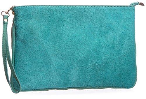 Big borsa Shop piccolo in vera pelle uomo pelliccia Con cerniera frizione borsa a tracolla Verde (verde)