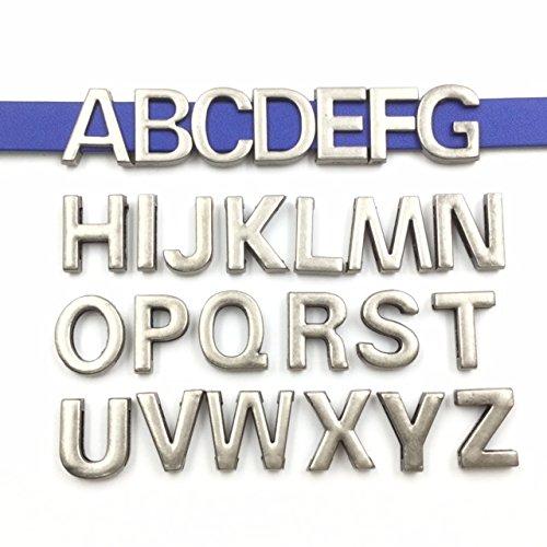 10 Charm Slide Mm - bcraftiz 1 set of 26pcs Antique Silver Alphabet Letter Initial Slide Charms Fit Leather Band 10mm Width