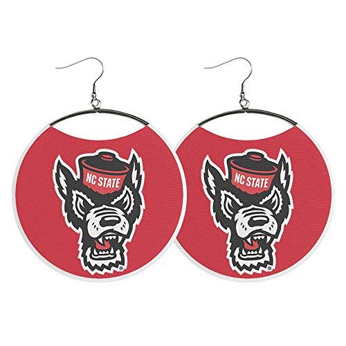 NCAA Wolfpack Earrings by Spirit Hoops, NC State Earrings, Wolf Head Logo, Red and White Fabric NCSU Game Day Earrings, Dangle Hoop Earrings, Womens Apparel