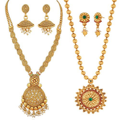 Apara Traditional Jewellery Gold Plated Jewellery Set for Women (Golden) (RC1N128N628R)
