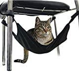 Saymequeen 15.7515.75'' Cat Hammock Pet Crib Warm Hammock Design Fits Under Table Chair (Black)