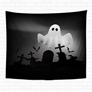 Topyee 50x60 Inch Tapestry Wall Hanging Scary Halloween Ghost Flying on Graveghost Happy White Trick Bad Black Holiday Night Home Decorative Tapestries Wall Blanket for Dorm Living Room Bedroom