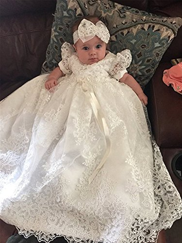 Banfvting Baby-girls Lace Beads Infant Toddler White Christening Gowns Long by Banfvting (Image #2)
