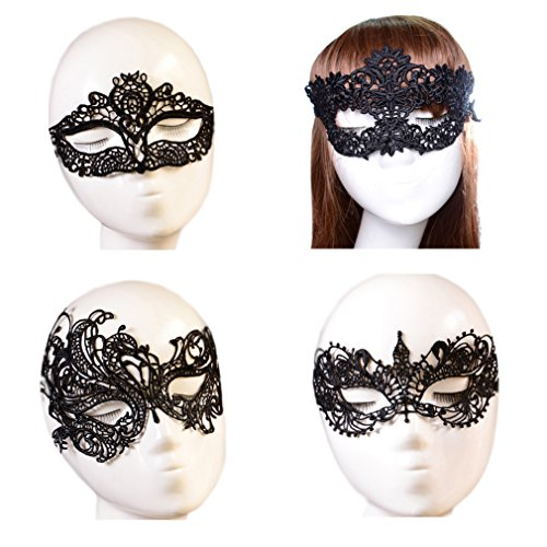 October Elf Women Party Masquerade Costume Bar Lace Soft Eye Mask 4pcs (1) (Elf Costumes Women)