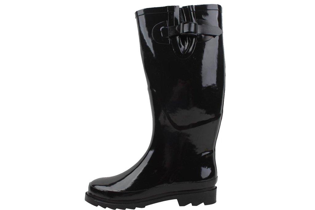 New Womens Black Rubber Rain Boots Size 10