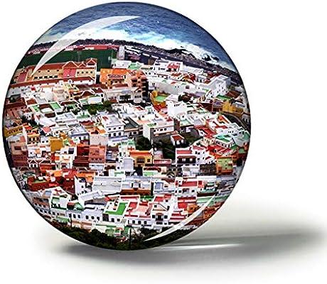 Hqiyaols Souvenir España Garachico Tenerife Imanes Nevera Refrigerador Imán Recuerdo Coleccionables Viaje Regalo Circulo Cristal 1.9 Inches: Amazon.es: Hogar