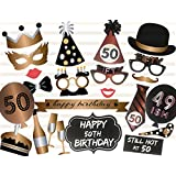 Veewon 50th Birthday Photo Booth Props Party Favor Kit - 23 Count