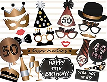Veewon 50th Birthday Party Photo Booth Props Unisex Funny 36pcs DIY Kit Suitable For His Or