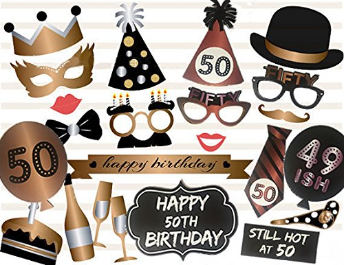 Losuya 50th Birthday Photo Booth Props 23pcs Funny Photobooth Prop for Unisex 50th Birthday Party Favors Dress up Accessories]()